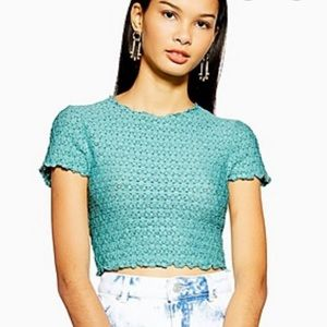 Topshop Lace Cropped Tshirt Size 4 Teal/Mint